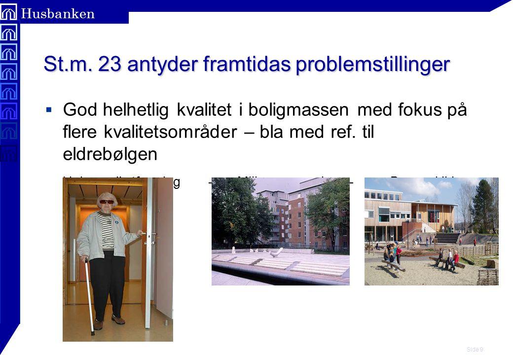 Side 9 Husbanken St.m. 23 antyder framtidas problemstillinger  God helhetlig kvalitet i boligmassen med fokus på flere kvalitetsområder – bla med ref