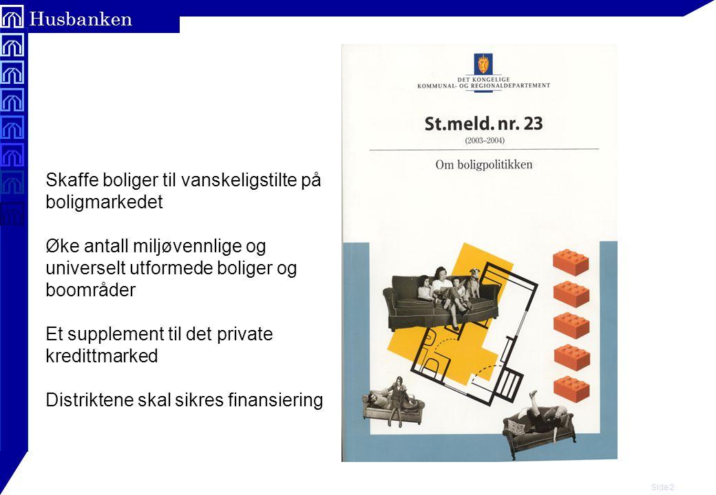 Side 3 Husbanken Om prosessen så langt: F Ny forskrift trådte i kraft 1.