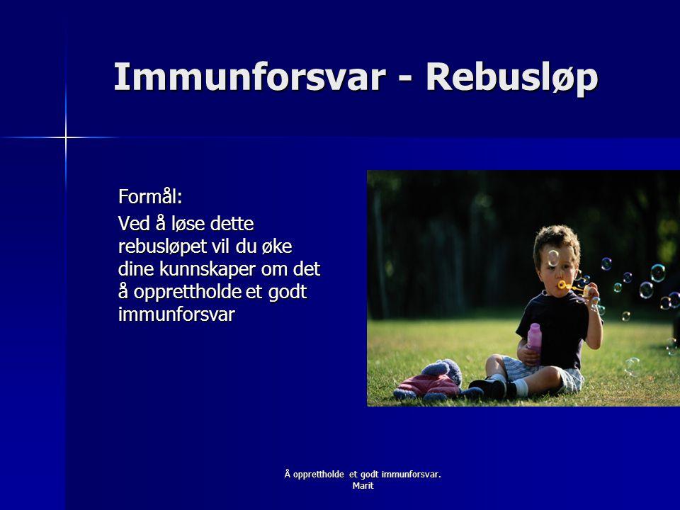 Immunforsvar - Rebusløp Formål: Ved å løse dette rebusløpet vil du øke dine kunnskaper om det å opprettholde et godt immunforsvar Å opprettholde et godt immunforsvar.