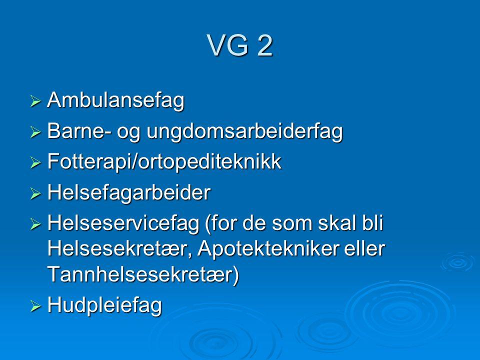 VG 2  Ambulansefag  Barne- og ungdomsarbeiderfag  Fotterapi/ortopediteknikk  Helsefagarbeider  Helseservicefag (for de som skal bli Helsesekretær