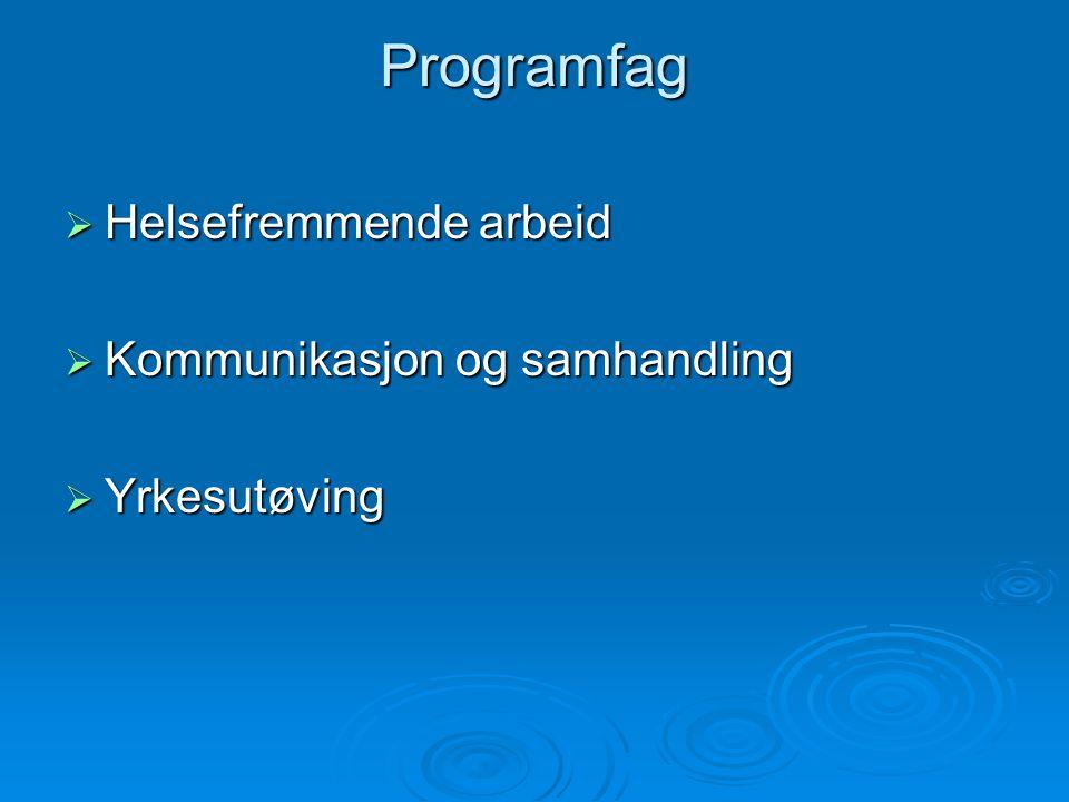 Programfag  Helsefremmende arbeid  Kommunikasjon og samhandling  Yrkesutøving