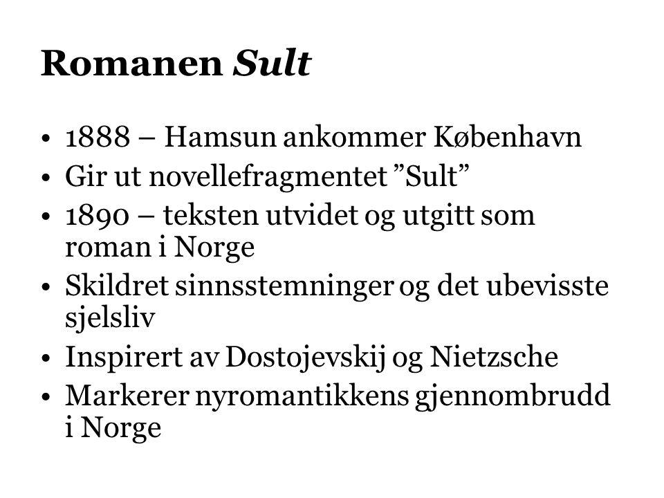"""Romanen Sult 1888 – Hamsun ankommer København Gir ut novellefragmentet """"Sult"""" 1890 – teksten utvidet og utgitt som roman i Norge Skildret sinnsstemnin"""