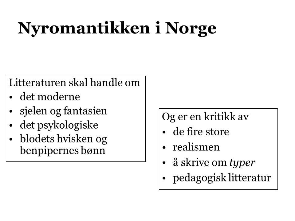 Nyromantikken i Norge Litteraturen skal handle om det moderne sjelen og fantasien det psykologiske blodets hvisken og benpipernes bønn Og er en kritikk av de fire store realismen å skrive om typer pedagogisk litteratur