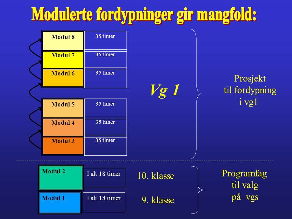 Modul 3 Modul 4 Modul 5 Modul 6 Modul 7 Modul 8 35 timer Vg 1 Prosjekt til fordypning i vg1 35 timer Modul 1 Modul 2 I alt 18 timer 9. klasse 10. klas