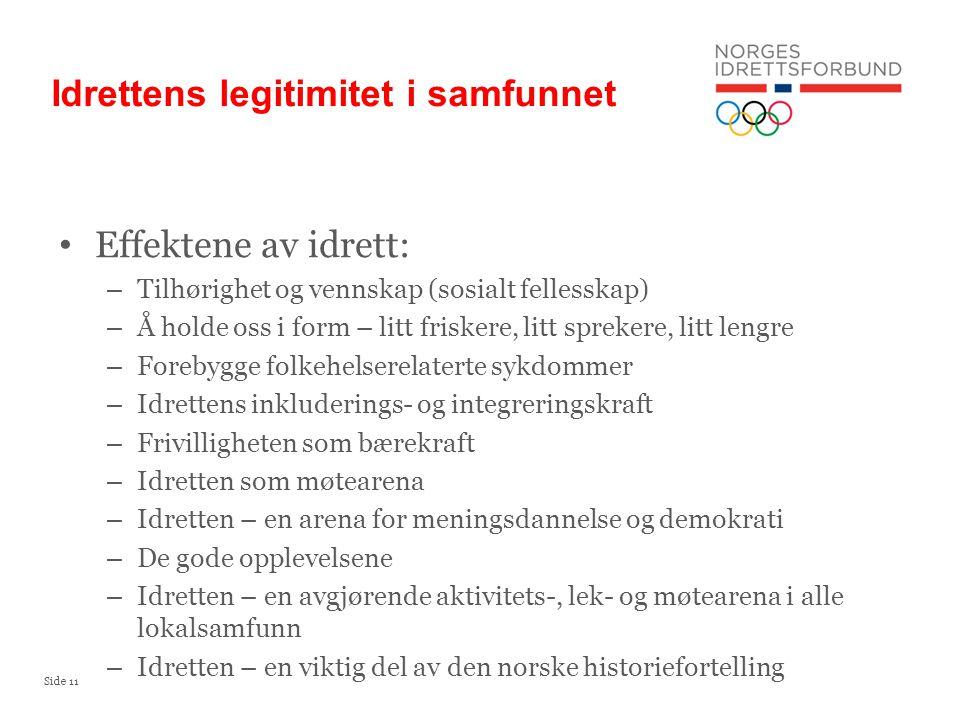 Side 11 Idrettens legitimitet i samfunnet Effektene av idrett: – Tilhørighet og vennskap (sosialt fellesskap) – Å holde oss i form – litt friskere, li