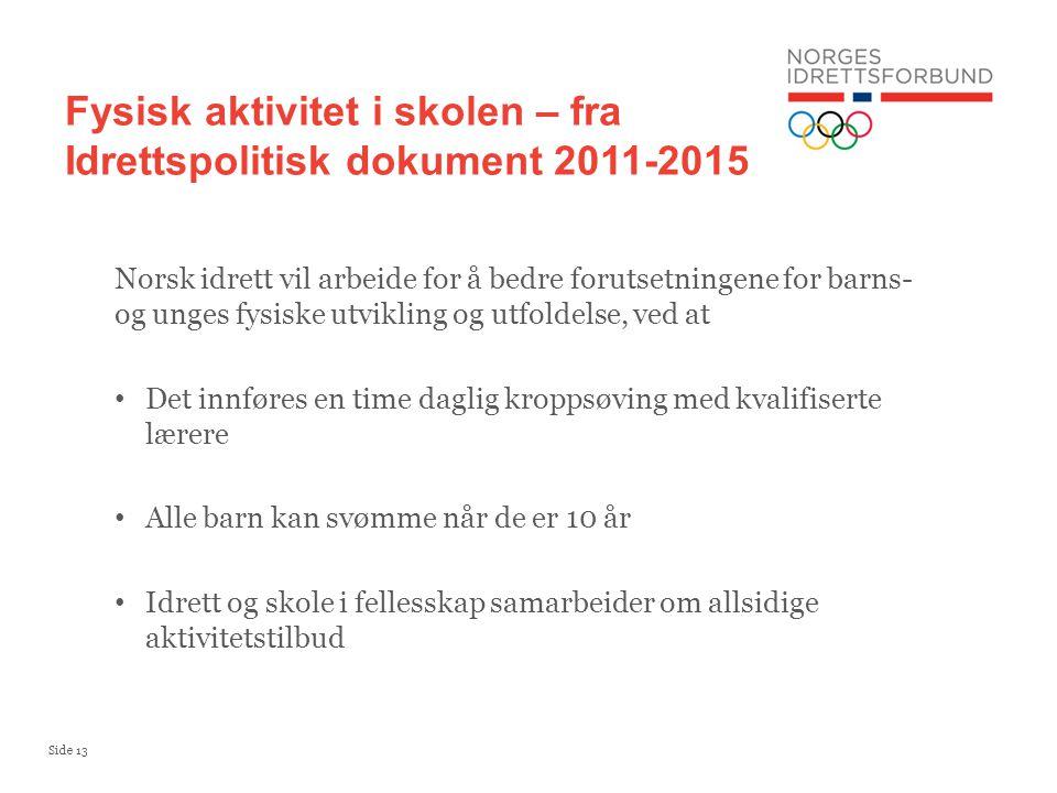 Side 13 Norsk idrett vil arbeide for å bedre forutsetningene for barns- og unges fysiske utvikling og utfoldelse, ved at Det innføres en time daglig k