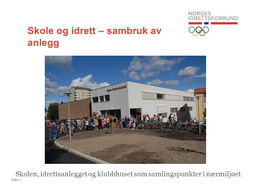 Side 17 Skole og idrett – sambruk av anlegg Skolen, idrettsanlegget og klubbhuset som samlingspunkter i nærmiljøet