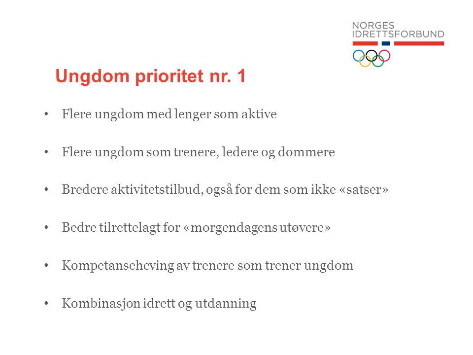 Ungdom prioritet nr. 1 Flere ungdom med lenger som aktive Flere ungdom som trenere, ledere og dommere Bredere aktivitetstilbud, også for dem som ikke