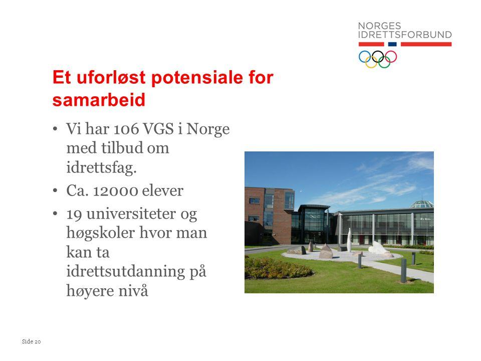 Side 20 Vi har 106 VGS i Norge med tilbud om idrettsfag. Ca. 12000 elever 19 universiteter og høgskoler hvor man kan ta idrettsutdanning på høyere niv