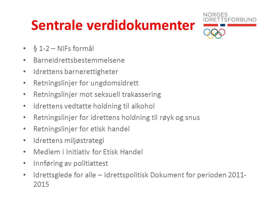 Sentrale verdidokumenter § 1-2 – NIFs formål Barneidrettsbestemmelsene Idrettens barnerettigheter Retningslinjer for ungdomsidrett Retningslinjer mot