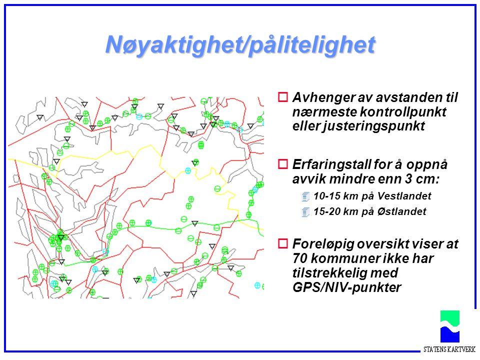 Nøyaktighet/pålitelighet oAvhenger av avstanden til nærmeste kontrollpunkt eller justeringspunkt oErfaringstall for å oppnå avvik mindre enn 3 cm: 410-15 km på Vestlandet 415-20 km på Østlandet oForeløpig oversikt viser at 70 kommuner ikke har tilstrekkelig med GPS/NIV-punkter