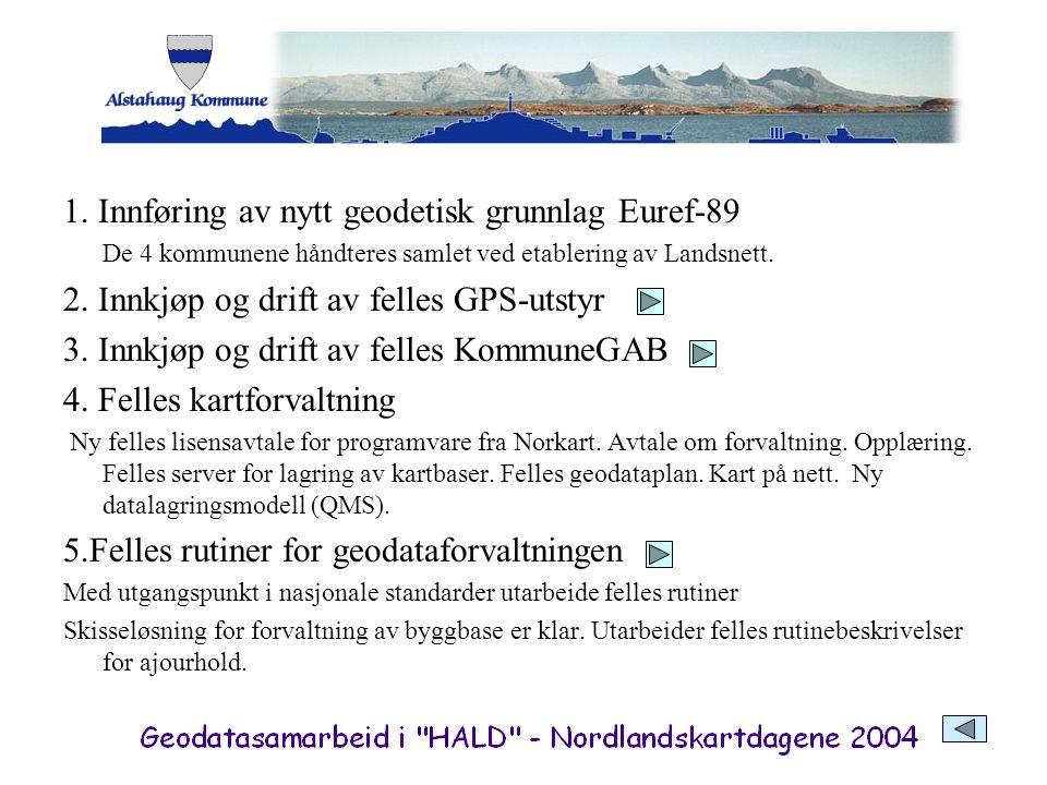 1. Innføring av nytt geodetisk grunnlag Euref-89 De 4 kommunene håndteres samlet ved etablering av Landsnett. 2. Innkjøp og drift av felles GPS-utstyr