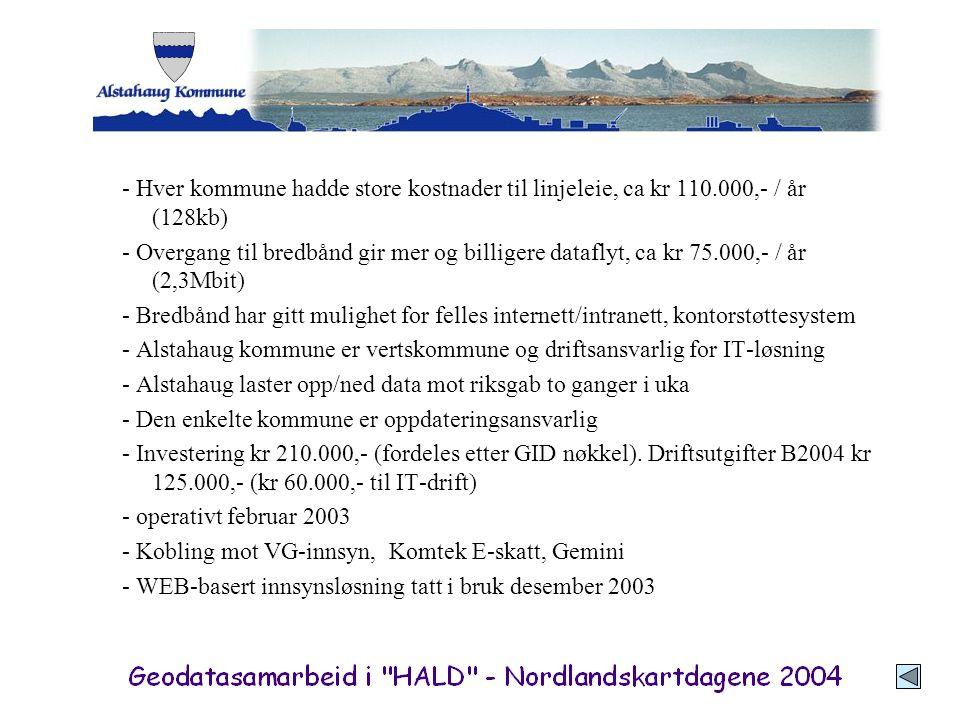 - Hver kommune hadde store kostnader til linjeleie, ca kr 110.000,- / år (128kb) - Overgang til bredbånd gir mer og billigere dataflyt, ca kr 75.000,-