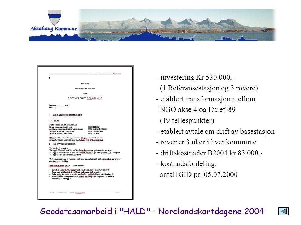 - investering Kr 530.000,- (1 Referansestasjon og 3 rovere) - etablert transformasjon mellom NGO akse 4 og Euref-89 (19 fellespunkter) - etablert avta