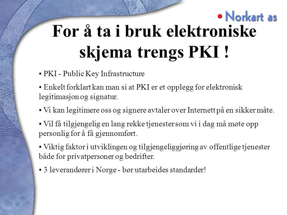 PKI - Public Key Infrastructure Enkelt forklart kan man si at PKI er et opplegg for elektronisk legitimasjon og signatur.