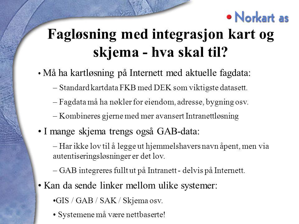 Må ha kartløsning på Internett med aktuelle fagdata: – Standard kartdata FKB med DEK som viktigste datasett.