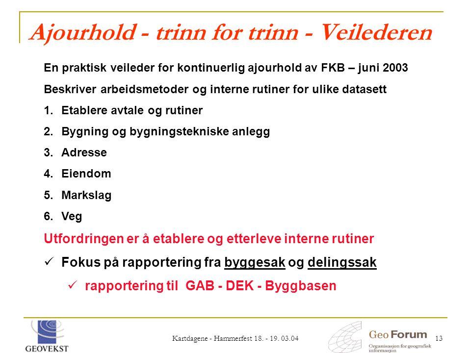 Kartdagene - Hammerfest 18. - 19. 03.04 13 Ajourhold - trinn for trinn - Veilederen En praktisk veileder for kontinuerlig ajourhold av FKB – juni 2003