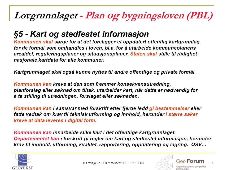 Kartdagene - Hammerfest 18. - 19. 03.04 4 Lovgrunnlaget - Plan og bygningsloven (PBL) §5 - Kart og stedfestet informasjon Kommunen skal sørge for at d