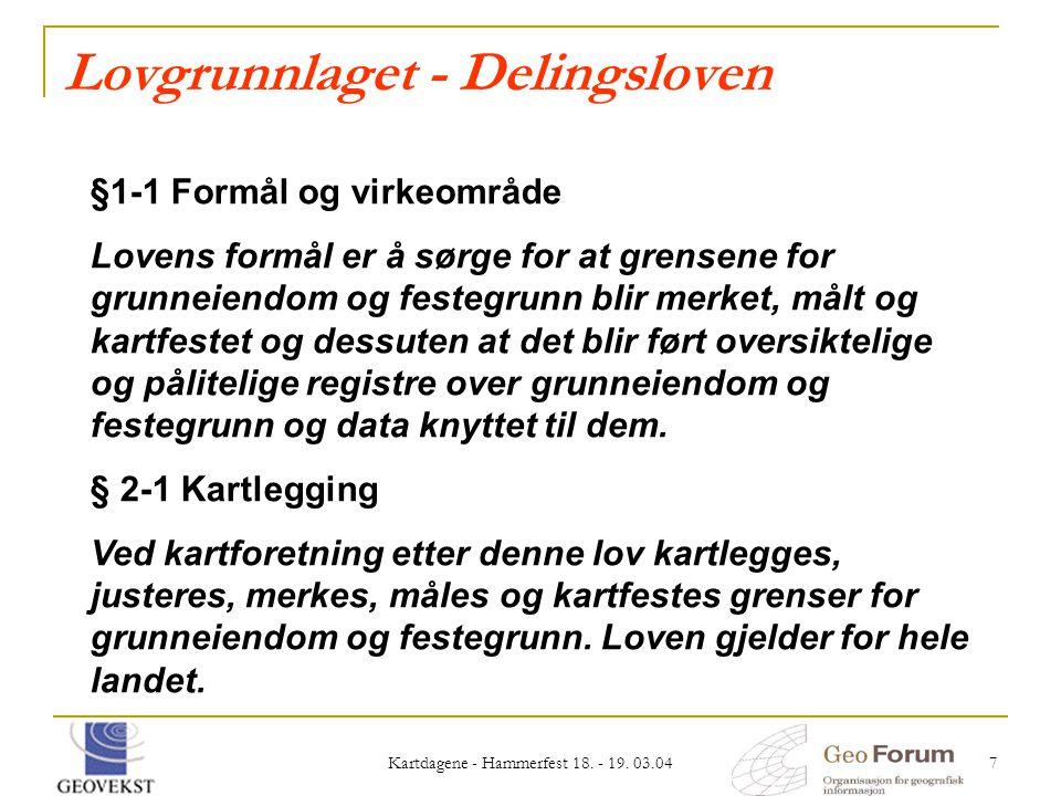 Kartdagene - Hammerfest 18. - 19. 03.04 7 Lovgrunnlaget - Delingsloven §1-1 Formål og virkeområde Lovens formål er å sørge for at grensene for grunnei