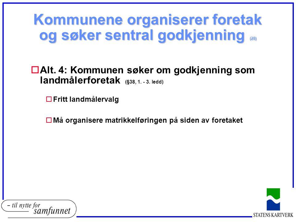 Kommunene organiserer foretak og søker sentral godkjenning (28) oAlt. 4: Kommunen søker om godkjenning som landmålerforetak (§38, 1. - 3. ledd) oFritt