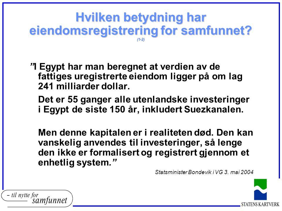 """Hvilken betydning har eiendomsregistrering for samfunnet? (1-2) """"I Egypt har man beregnet at verdien av de fattiges uregistrerte eiendom ligger på om"""