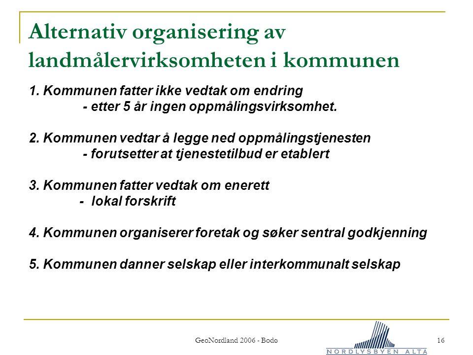 GeoNordland 2006 - Bodø 16 Alternativ organisering av landmålervirksomheten i kommunen 1.