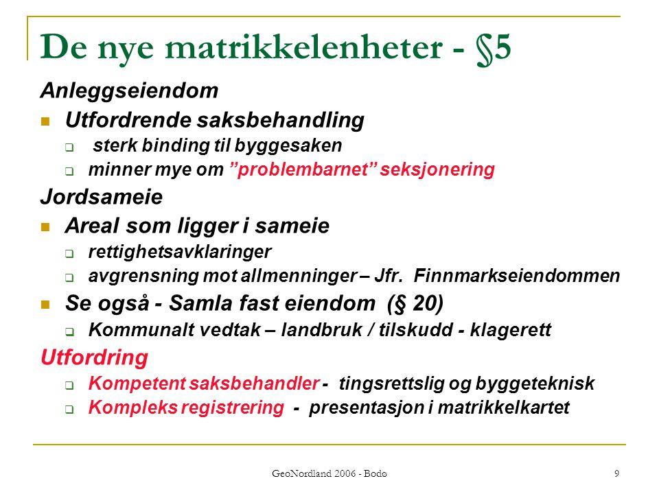 GeoNordland 2006 - Bodø 9 De nye matrikkelenheter - §5 Anleggseiendom Utfordrende saksbehandling  sterk binding til byggesaken  minner mye om problembarnet seksjonering Jordsameie Areal som ligger i sameie  rettighetsavklaringer  avgrensning mot allmenninger – Jfr.