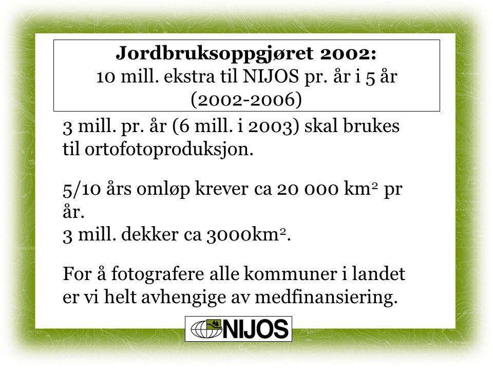 Jordbruksoppgjøret 2002: 10 mill. ekstra til NIJOS pr. år i 5 år (2002-2006) 3 mill. pr. år (6 mill. i 2003) skal brukes til ortofotoproduksjon. 5/10