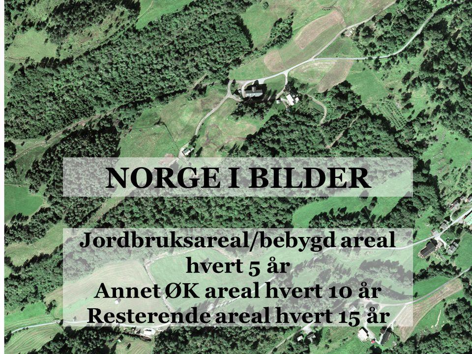 NORGE I BILDER Jordbruksareal/bebygd areal hvert 5 år Annet ØK areal hvert 10 år Resterende areal hvert 15 år