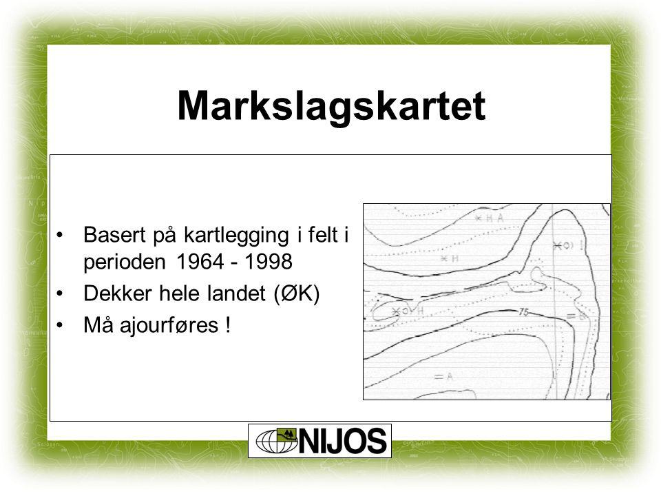Markslagskartet Basert på kartlegging i felt i perioden 1964 - 1998 Dekker hele landet (ØK) Må ajourføres !