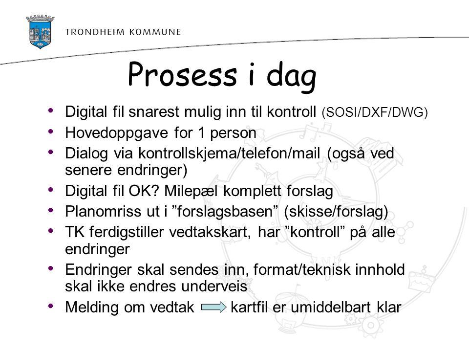 Prosess i dag Digital fil snarest mulig inn til kontroll (SOSI/DXF/DWG) Hovedoppgave for 1 person Dialog via kontrollskjema/telefon/mail (også ved sen