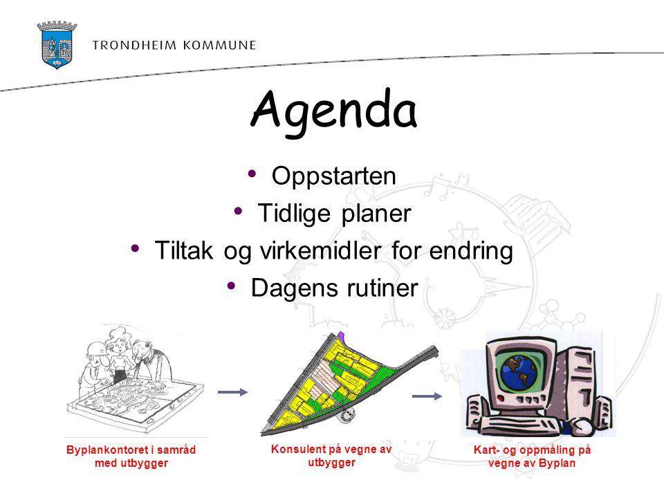Agenda Oppstarten Tidlige planer Tiltak og virkemidler for endring Dagens rutiner Byplankontoret i samråd med utbygger Konsulent på vegne av utbygger
