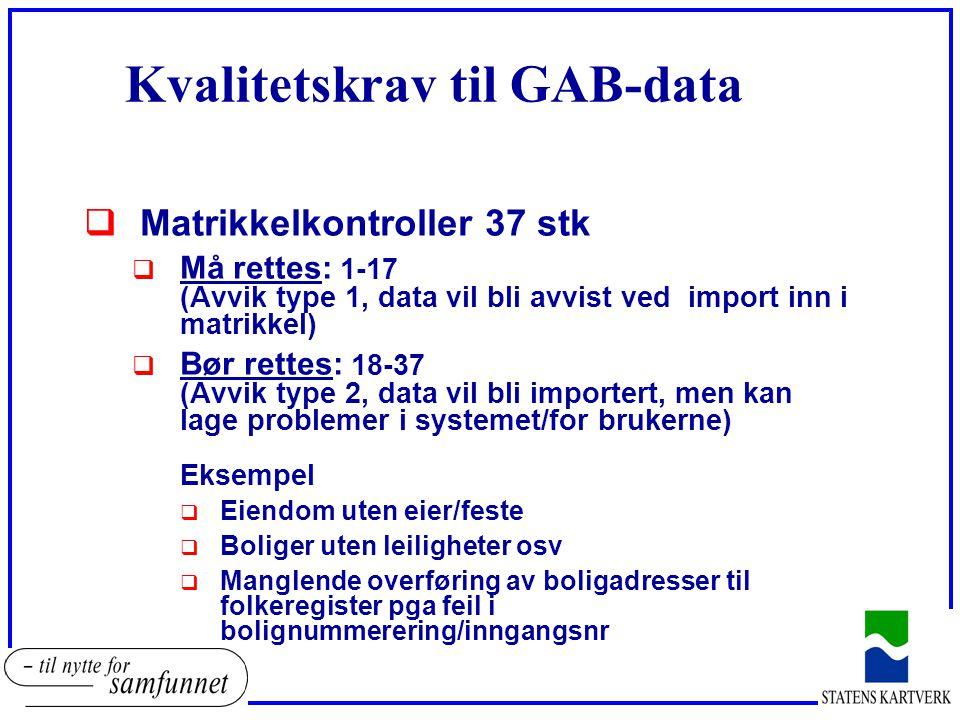 Kvalitetskrav til GAB-data  Matrikkelkontroller 37 stk  Må rettes: 1-17 (Avvik type 1, data vil bli avvist ved import inn i matrikkel)  Bør rettes: