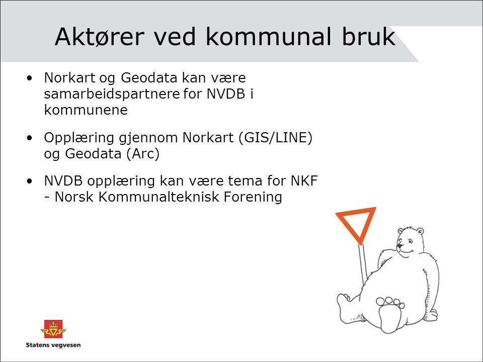 Aktører ved kommunal bruk Norkart og Geodata kan være samarbeidspartnere for NVDB i kommunene Opplæring gjennom Norkart (GIS/LINE) og Geodata (Arc) NVDB opplæring kan være tema for NKF - Norsk Kommunalteknisk Forening