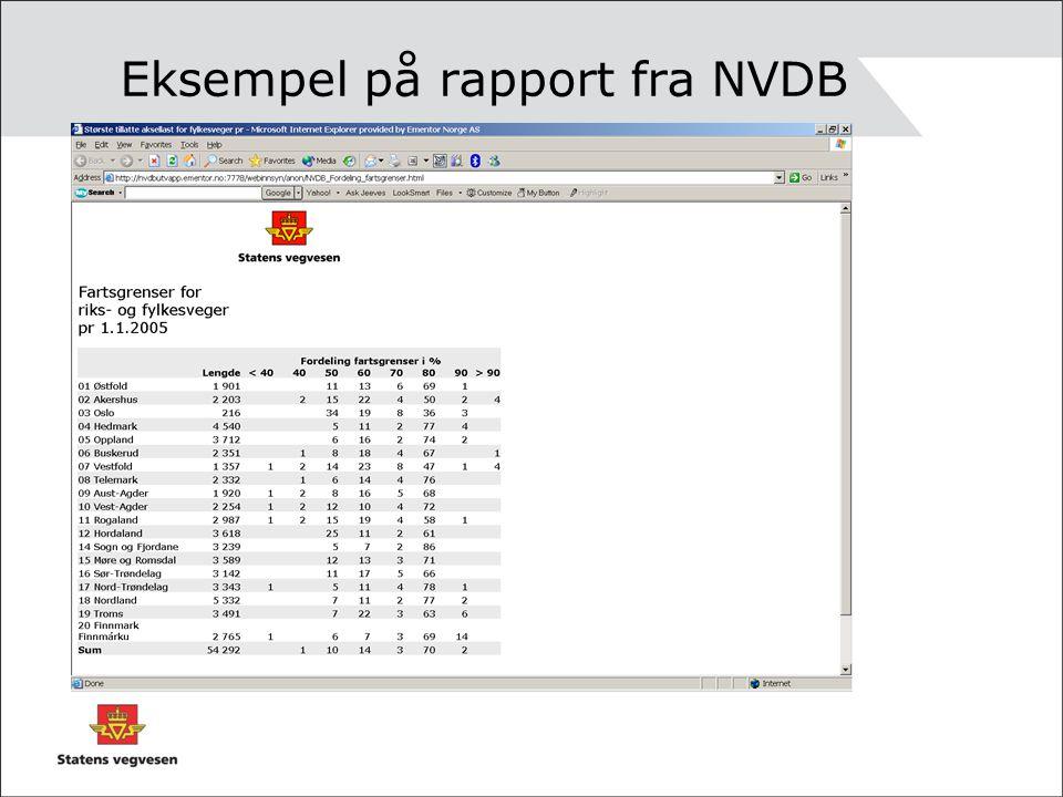 Eksempel på rapport fra NVDB