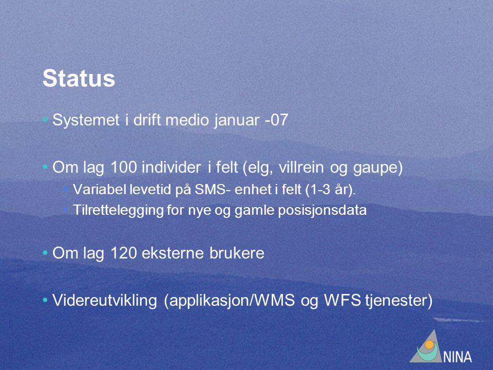 Status Systemet i drift medio januar -07 Om lag 100 individer i felt (elg, villrein og gaupe) Variabel levetid på SMS- enhet i felt (1-3 år).
