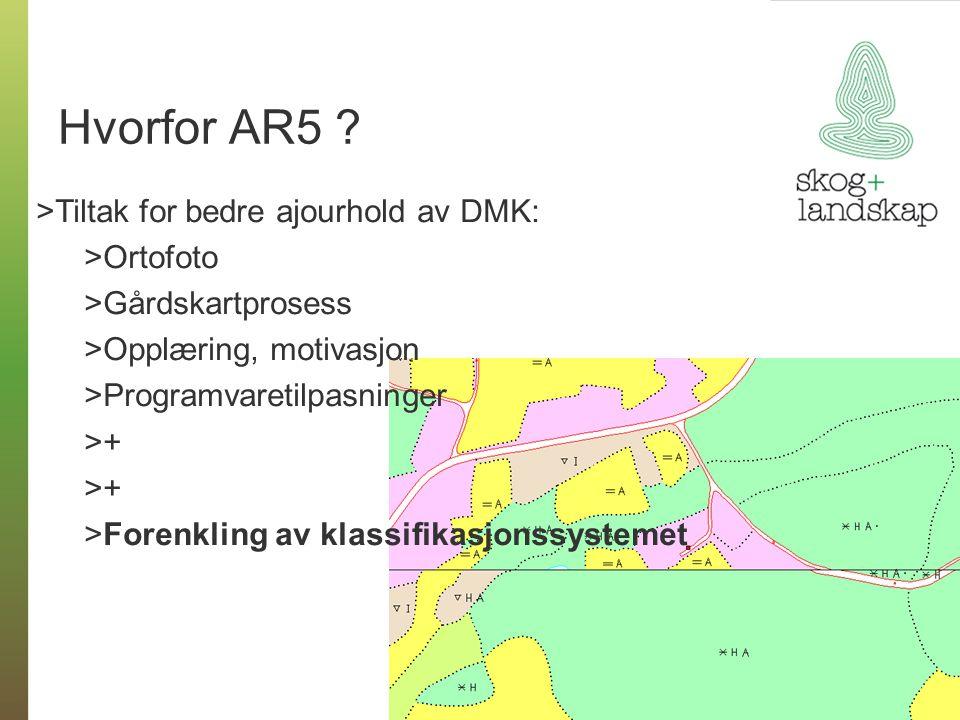 Hvorfor AR5 ? >Tiltak for bedre ajourhold av DMK: >Ortofoto >Gårdskartprosess >Opplæring, motivasjon >Programvaretilpasninger >+>+ >+>+ >Forenkling av