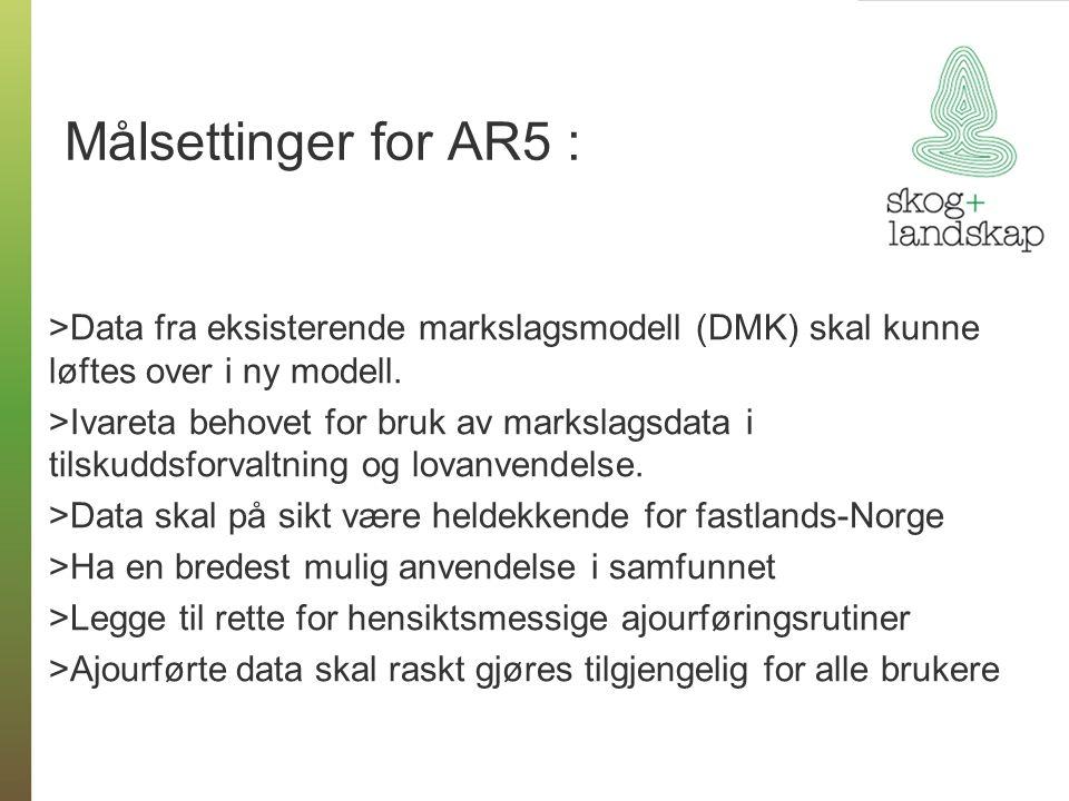 Målsettinger for AR5 : >Data fra eksisterende markslagsmodell (DMK) skal kunne løftes over i ny modell. >Ivareta behovet for bruk av markslagsdata i t