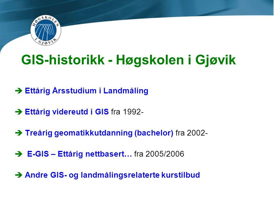 GIS-historikk - Høgskolen i Gjøvik èEttårig Årsstudium i Landmåling èEttårig videreutd i GIS fra 1992- èTreårig geomatikkutdanning (bachelor) fra 2002- è E-GIS – Ettårig nettbasert… fra 2005/2006 èAndre GIS- og landmålingsrelaterte kurstilbud