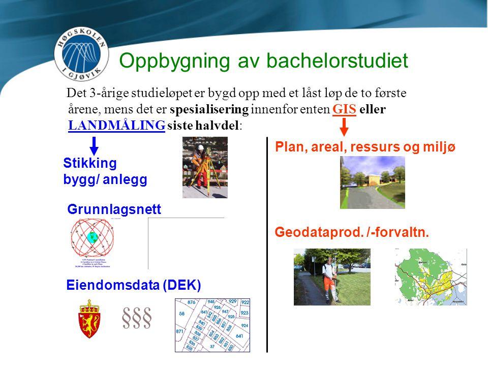 Oppbygning av bachelorstudiet Det 3-årige studieløpet er bygd opp med et låst løp de to første årene, mens det er spesialisering innenfor enten GIS el