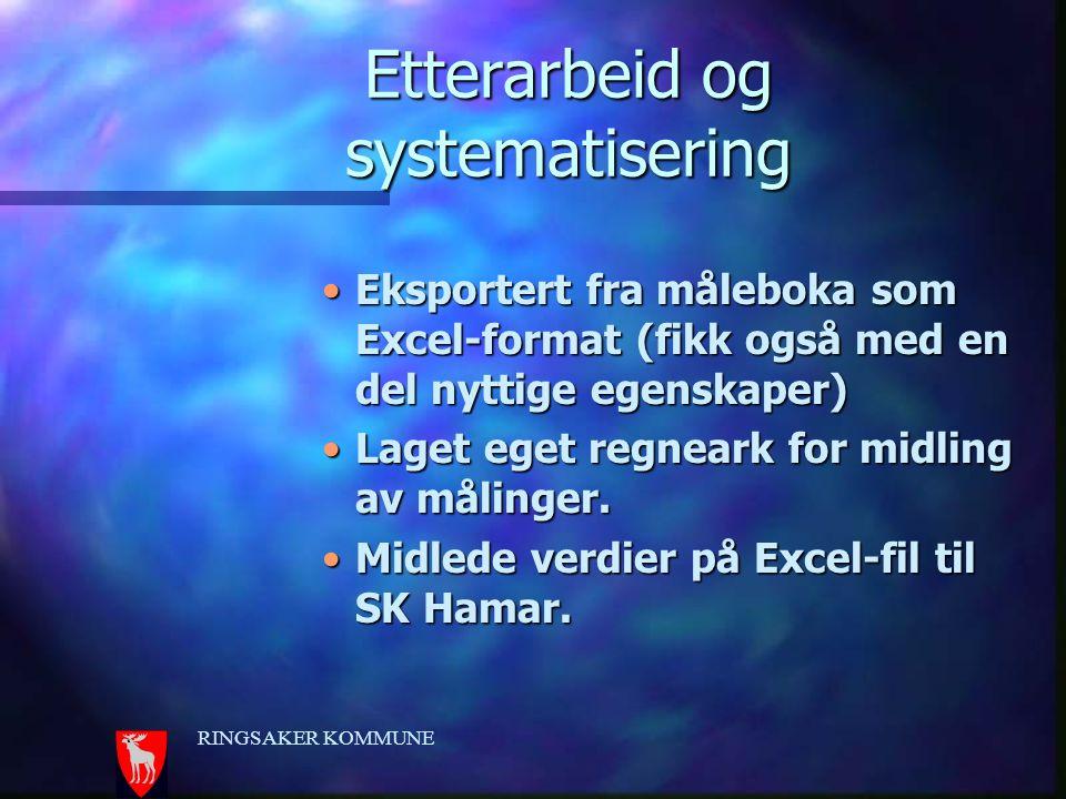 Etterarbeid og systematisering Eksportert fra måleboka som Excel-format (fikk også med en del nyttige egenskaper)Eksportert fra måleboka som Excel-for