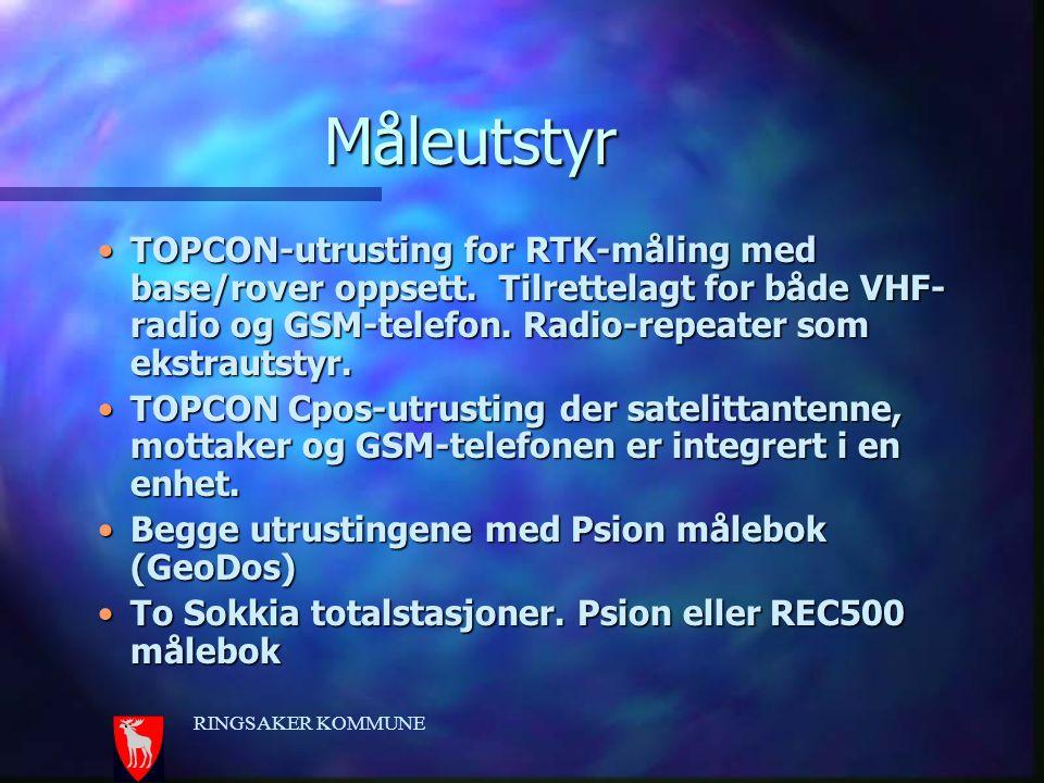 RINGSAKER KOMMUNE Måleutstyr TOPCON-utrusting for RTK-måling med base/rover oppsett. Tilrettelagt for både VHF- radio og GSM-telefon. Radio-repeater s