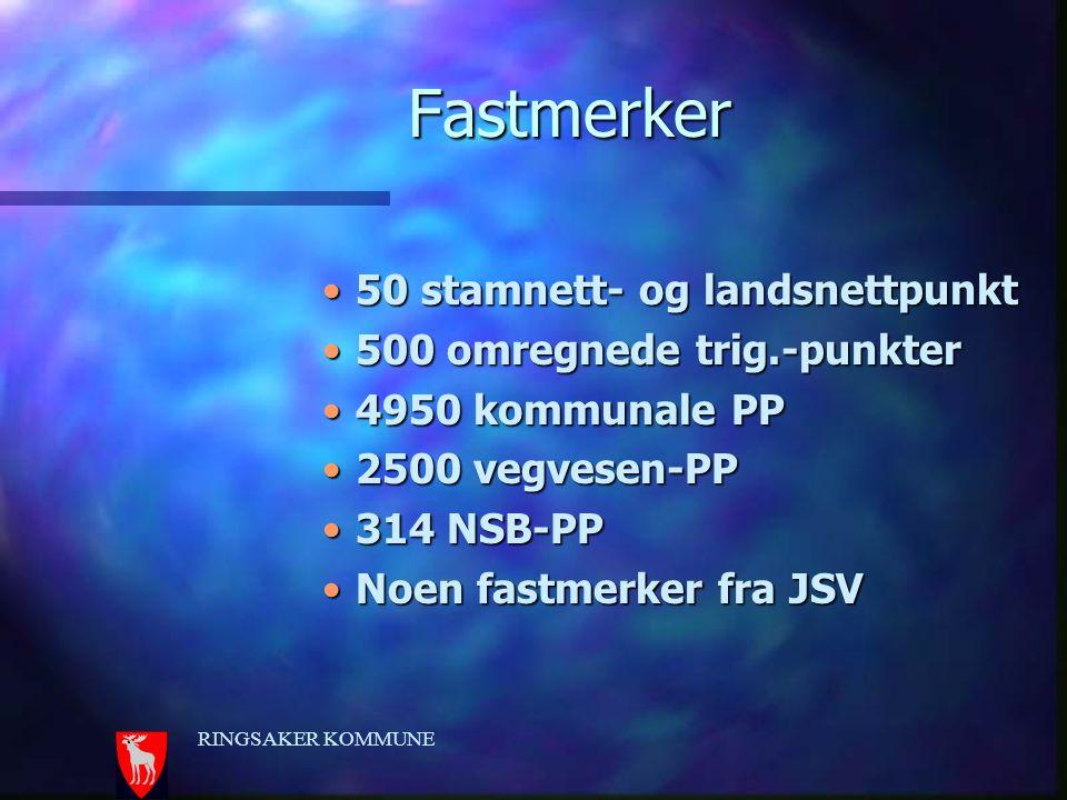 RINGSAKER KOMMUNE Fastmerker 50 stamnett- og landsnettpunkt50 stamnett- og landsnettpunkt 500 omregnede trig.-punkter500 omregnede trig.-punkter 4950