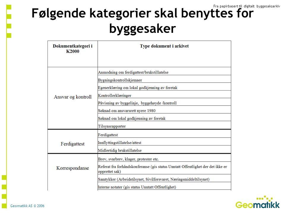 Fra papirbasert til digitalt byggesaksarkiv Geomatikk AS © 2006 Følgende kategorier skal benyttes for byggesaker