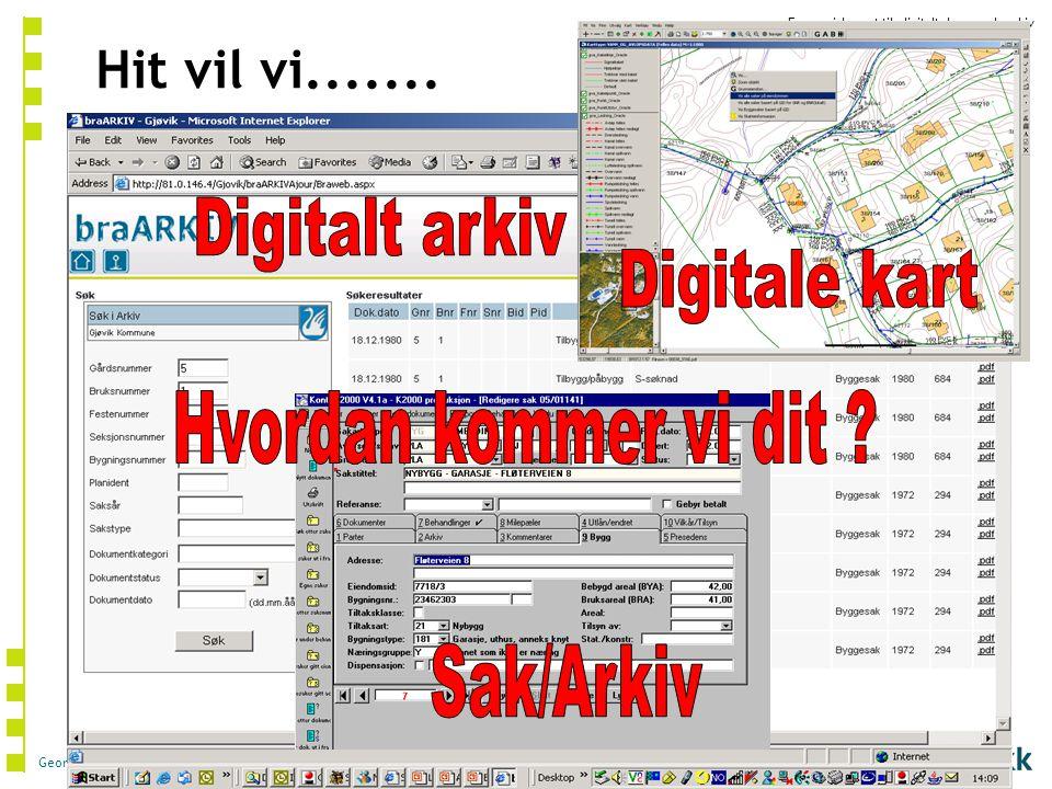 Fra papirbasert til digitalt byggesaksarkiv Geomatikk AS © 2006 Hit vil vi.......