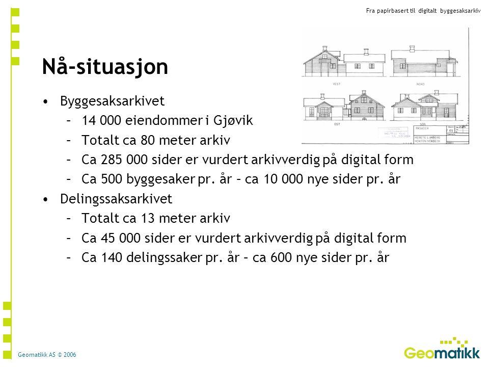 Fra papirbasert til digitalt byggesaksarkiv Geomatikk AS © 2006 Nå-situasjon Byggesaksarkivet –14 000 eiendommer i Gjøvik –Totalt ca 80 meter arkiv –C