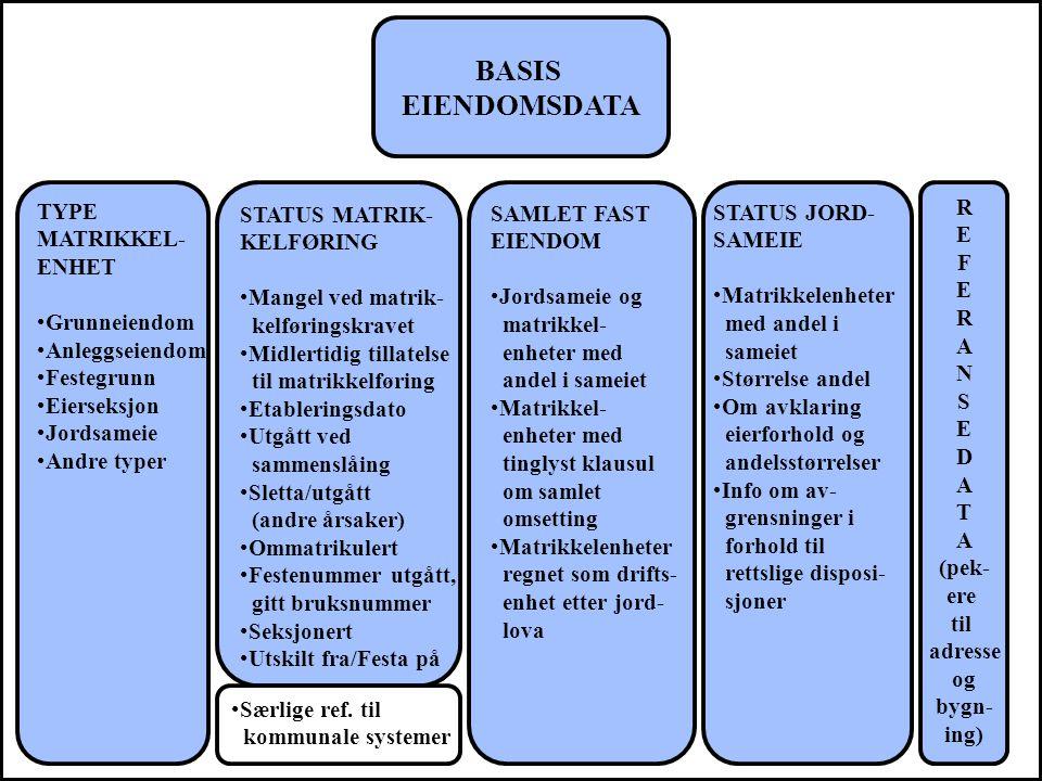 BASIS EIENDOMSDATA STATUS MATRIK- KELFØRING Mangel ved matrik- kelføringskravet Midlertidig tillatelse til matrikkelføring Etableringsdato Utgått ved