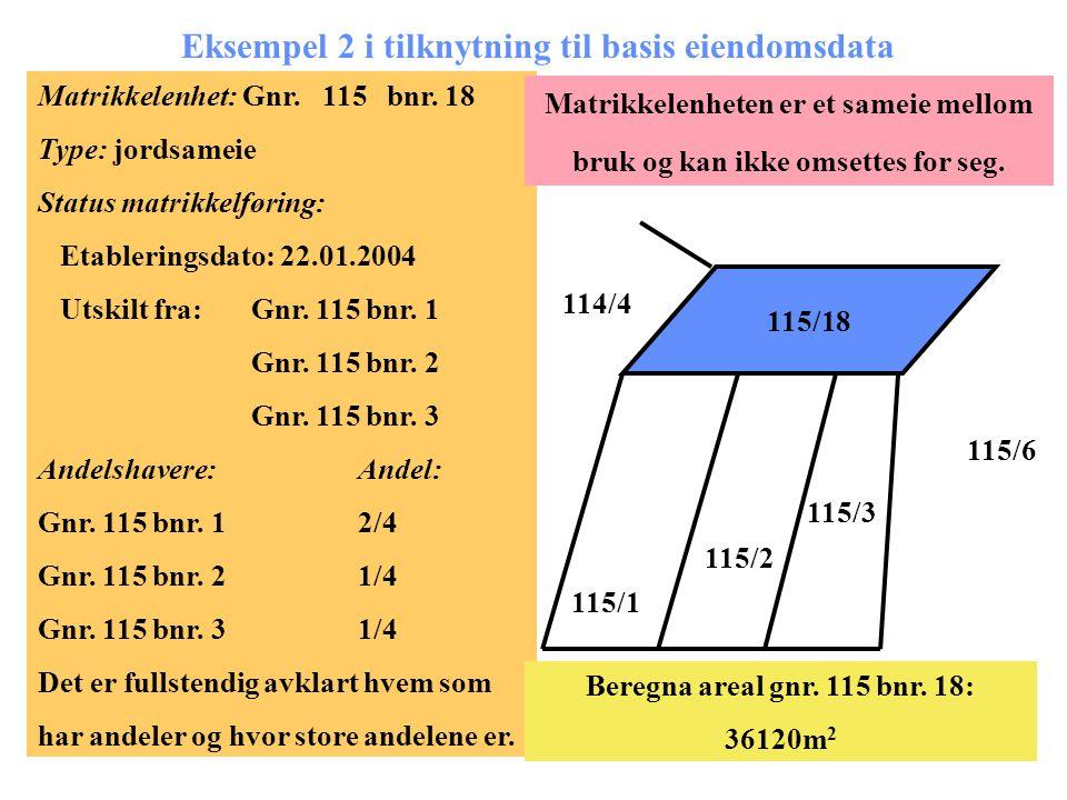 Eksempel 2 i tilknytning til basis eiendomsdata Matrikkelenhet: Gnr. 115 bnr. 18 Type: jordsameie Status matrikkelføring: Etableringsdato: 22.01.2004