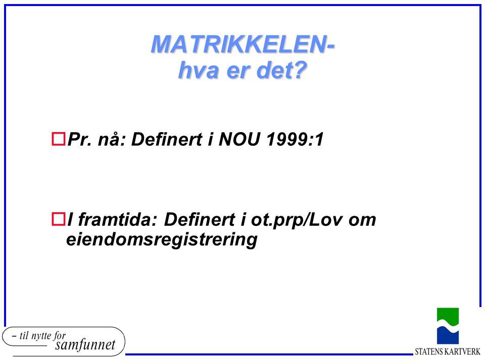 MATRIKKELEN- hva er det? oPr. nå: Definert i NOU 1999:1 oI framtida: Definert i ot.prp/Lov om eiendomsregistrering
