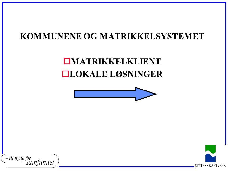 KOMMUNENE OG MATRIKKELSYSTEMET oMATRIKKELKLIENT oLOKALE LØSNINGER